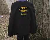 Super Hero Cape for Boys and Girls Appliqued  Batman Superhero, Personalized with Embroidered Name or Monogram, You Pick the Colors