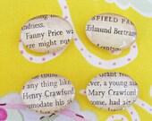 Mansfield Park Fridge Magnet Set of Four Glass Jane Austen Literature Book Page Fanny Price Edmund Bertram Henry Crawford