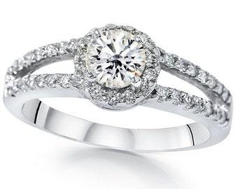 Diamond Engagement Ring, Halo Diamond Engagement Ring VS1 .90Ct Diamond Halo Split Shank Engagement Ring 14K White Gold Vintage Diamond Ring