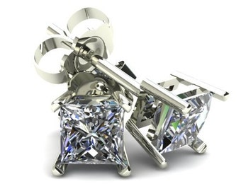 3/4CT Square Princess Cut Natural Diamond Stud Earrings In 14K Gold