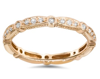3/4CT Stackable Diamond Eternity Ring 14 KT Rose Gold Womens Wedding Anniversary Band