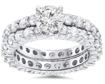 Diamond Eternity Engagement 4.00CT Wedding Ring Bridal Set 14K White Gold Band Matching Size 4-9