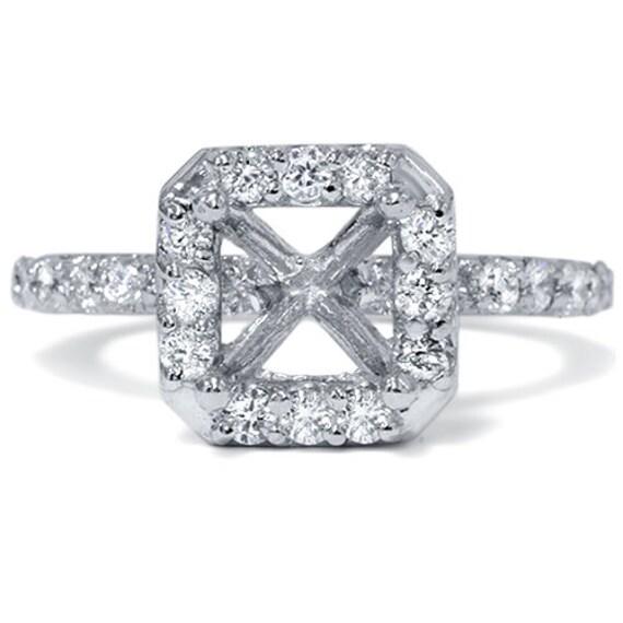 Diamond 40CT Halo Princess Cut Diamond Engagement Ring Semi