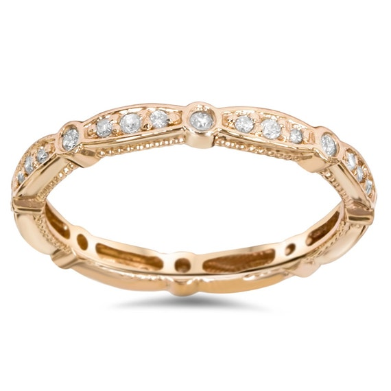 3 4ct stackable diamond eternity ring 14 kt rose gold womens. Black Bedroom Furniture Sets. Home Design Ideas