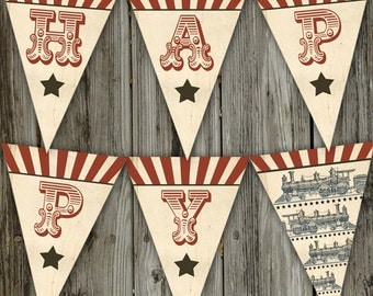 Birthday Express Printable Happy Birthday Vintage Train Party Banner