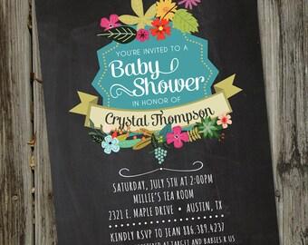 Vintage Summer Flowers, Chalkboard Baby Shower, Invitation, Chalkboard Baby Shower Invite, Baby Shower, PRINTABLE