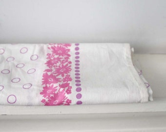 Vintage Cotton Pillowcase. White and Pink Polkadots and Flowers. Made in the USSR.