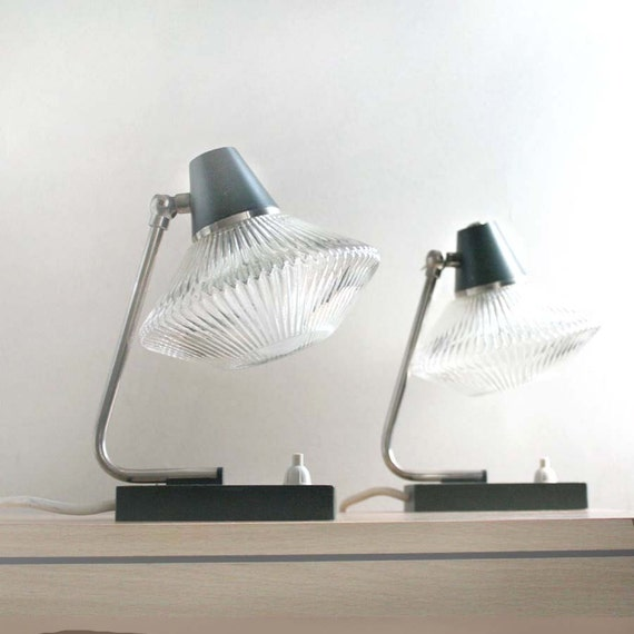 1970s Table Lamps by ProjectSarafan. Teal Green, Clear UFO Glass lampshades.