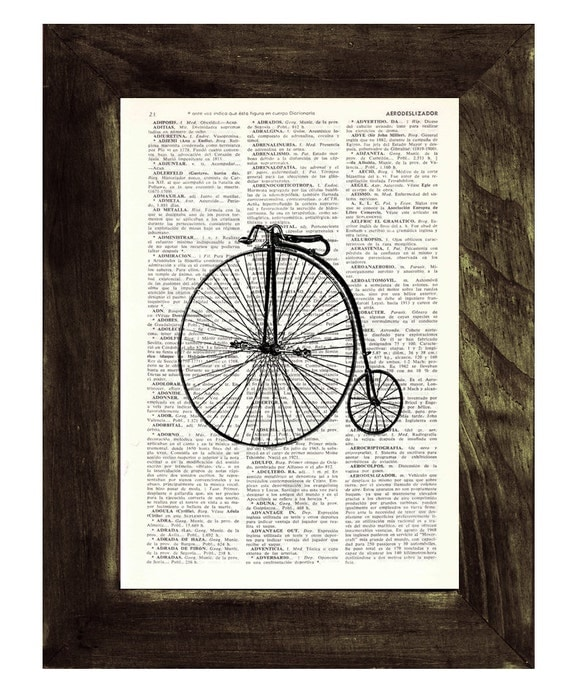 Spring Sale Dictionary Page Art  Old Bicycle collage Print on Vintage Dictionary page BPTV02