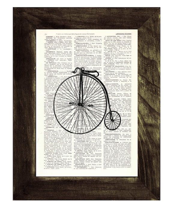 BOGO Sale Dictionary Page Art  Old Bicycle collage Print on Vintage Dictionary page TVH002