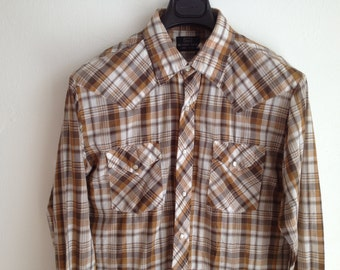 Brown Plaid Western Shirt / Pearlized Snap LS Rockabilly Shirt / Sz Large / M Kane Snaps/ SEARS