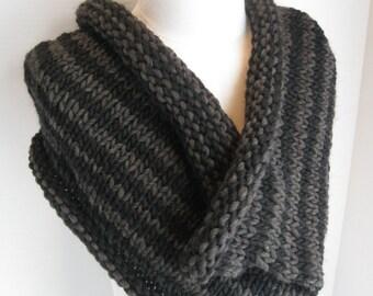 Knit cowl black grey stripes wool roving