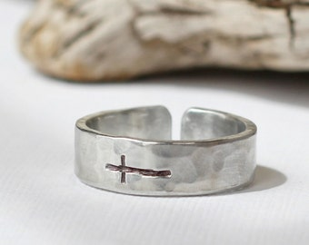 Sideways Cross Ring- Hammered Aluminum Silver Band Ring