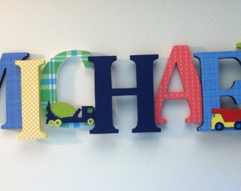 Nursery wooden wall letters construction themed for Party wall act letter to neighbour
