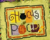 LIZZIE*KATE Hocus Pocus counted cross stitch patterns at thecottageneedle.com autumn October cauldron pumpkin