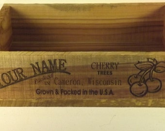 Cherry Produce Crate, Personalized, Vintage Style