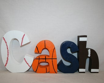 custom letters wood letters sports themed decor 4 letter set sports nursery baseball basketball football name letters name sign