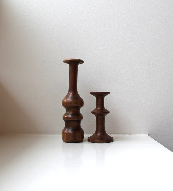 danish modern wood pair candle holders hand turned With what kind of paint to use on kitchen cabinets for glass floating candle holders