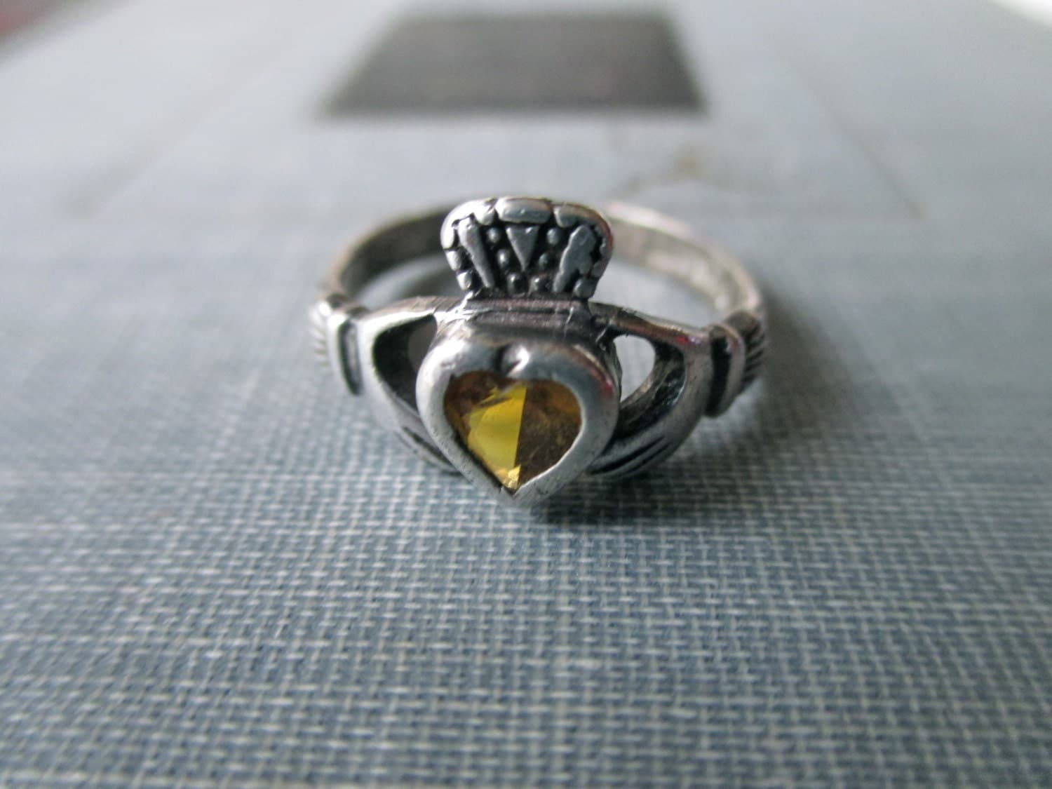 sterling silver and yellow ring by trunkgypsies