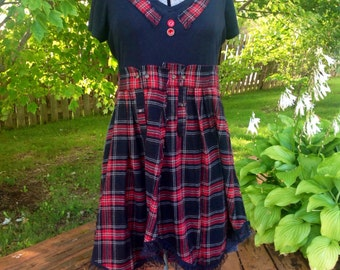 Upcycled Recycled Repurposed Black Red Flannel Tunic-Punk Dress Large-shabby chic dress-Rustic Cottage style-large-Red Flannel Dress