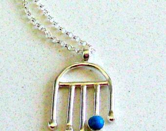 Hamsa  Amulets Charm Pendant . Sterling Silver Urban Good Luck Charm. Hamsa Pendant with Turquoise // Handmade Jewelry