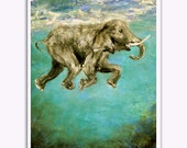 Elephant Art Swimming Elephants Signed Art Print