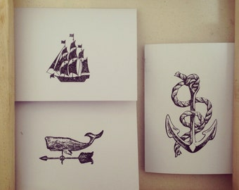 Nautical Stationary //  Whale Weather-vane, Sailboat and Anchor // Vintage Style // Handmade Note Cards // Stationery // 5 Pack
