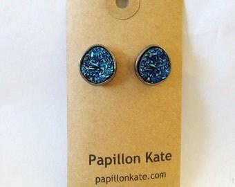 Geode Earrings / Royal Blue / Metallic / Pyrite / Druzy