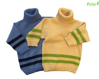 Polo neck sweater - 1 - 24 months - 100% merino wool knitted baby kid newborn child toddler turtleneck poloneck long sleeved vest boy girl