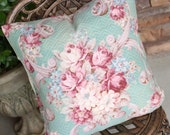 Antique Raspberry Pink Cabbage Rose Floral Decorative Designer Custom Vintage Aqua Green Barkcloth Fabric Throw Pillow