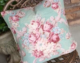 Antique Raspberry Pink Cabbage Rose Floral Decorative Designer Custom Vintage Aqua Green Barkcloth Fabric Throw Pillow