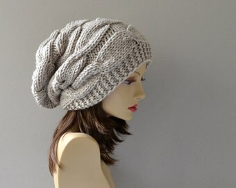 Winter Hat - Knit Hat - Slouchy Beanie - Beanie - Women Hat - Cable Hat - Beret - Oversized Hat - Chunky Knit