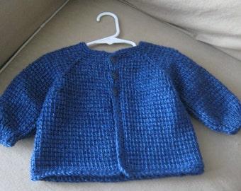 Blue Crochet Baby Boy Sweater - 6-12 Months - Tunisian Crochet - Handmade