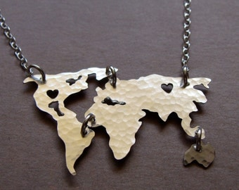World Map Necklace. Sterling Silver or Gold Filled World Map Necklace of the World. Travel Art Personalized Gifts For Her. Wedding Jewelry..