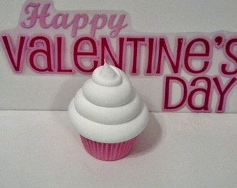 Classic Pink and White Valentine Fake Cupcake Photo Prop, No Sprinkles, Shop Displays, Home Accents, Party Decorations, Gifts, Stage Props