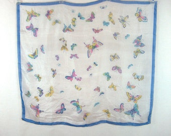 Vintage Scarf Large 100% Silk Butterfly Print Japan Hand Rolled Edge
