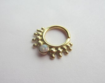 The Moriah : Gold Nose Ring .. Septum Jewelry .. Unique Nose Adornment .. 14K Gold .. Opal .. Aprilsblissed .. Belly Dance Jewelry
