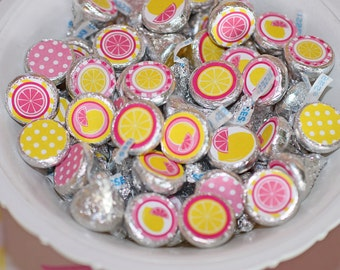 INSTANT DOWNLOAD diy  Pink Lemonade  Birthday Party  PRINTABLE Hershey's Kiss Stickers labels pink yellow favors treats
