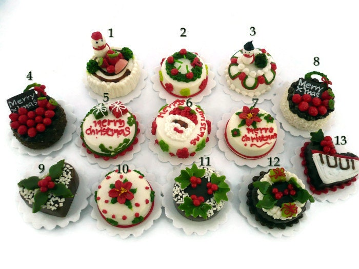 1 piecexChristmas Cake Dollhouse Miniatures Supply Deco