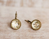 Pale Yellow Glitz Cabochon Drop Earrings - Holiday Collection - Hypoallergenic Dangle Earrings, Glitter