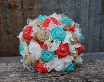Fabric Bouquet with Coral and Turquoise, (Jade) Burlap and Lace, Bridal Bouquet, Rustic Wedding, Bride's Bouquet, Burlap Bouquet