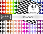 48 Diamond Digital Papers, Harlequin Scrapbooking Paper, 12x12, Commercial Use (CU), Instant Download