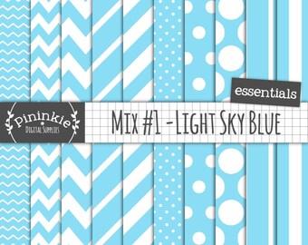Blue Digital Paper, Blue Scrapbooking Paper, Chevrons, Stripes, Polka Dots, Diagonal Stripes, Commercial Use, Instant Download