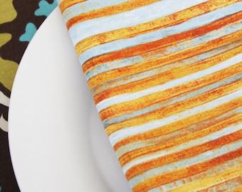 Napkins - Burnt Orange with Aqua Stripes