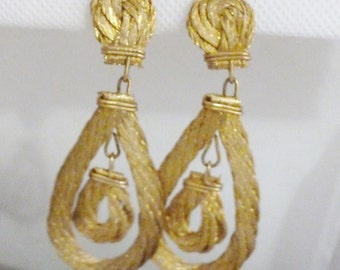 SALE Vintage  LIQUID METAL - Gold Dangle Earrings Twisted and Pressed