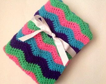 Crochet baby blanket pink turquoise purple green bright ripple chevron blanket photo prop