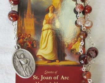 Handmade St. Joan of Arc Chaplet, Polished Mixed Agate Gemstone Beads