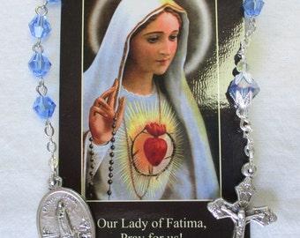 Handmade Catholic Tenner Single Decade Rosary, Our Lady of Fatima, 6mm Sapphire Crystal Bicone Beads, Fatima Crucifix