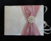 Guest Book, Pen Set, Wedding, Quinceañera, Sweet  16, Bridal, Pearl Brooch, Swarovski Crystals, Custom Made in your Event Colors