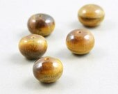 Tiger Eye 10mm Rondelle Stone Beads, Brown Beads, Fall Beads, Five